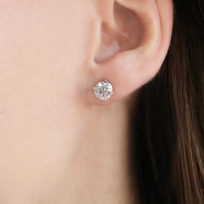 2.20 Total Carat Weight Round Cut Stud Earrings