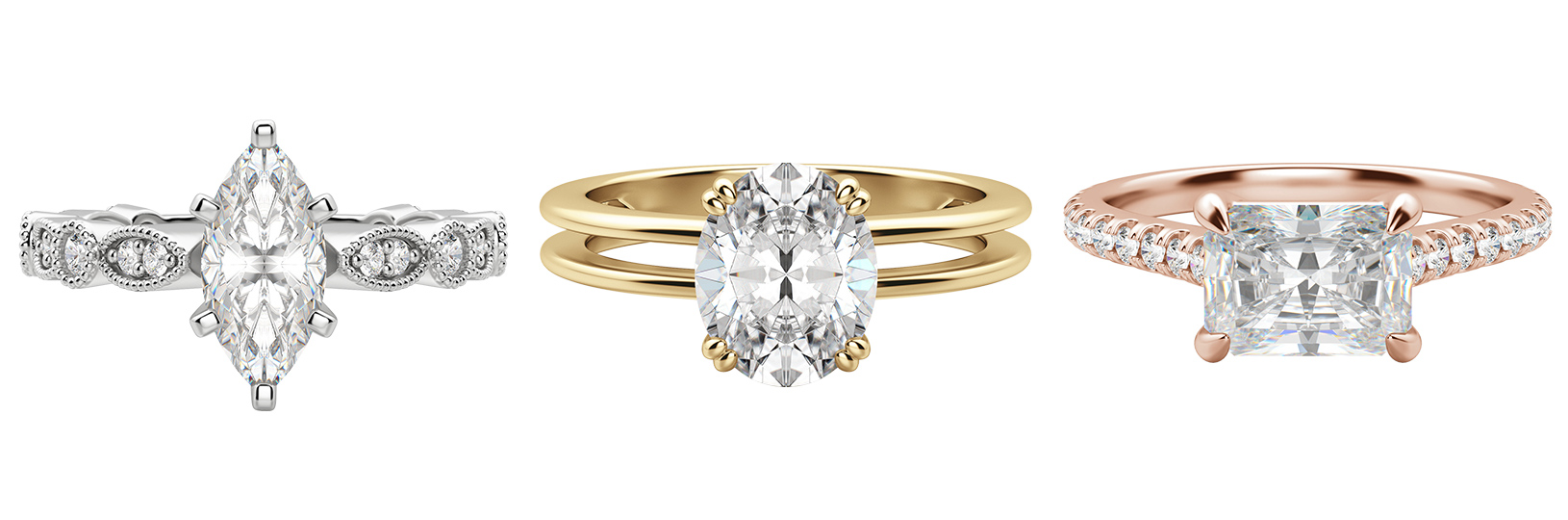 Three classic engagement ring styles featuring marquise, oval and emerald cut stones