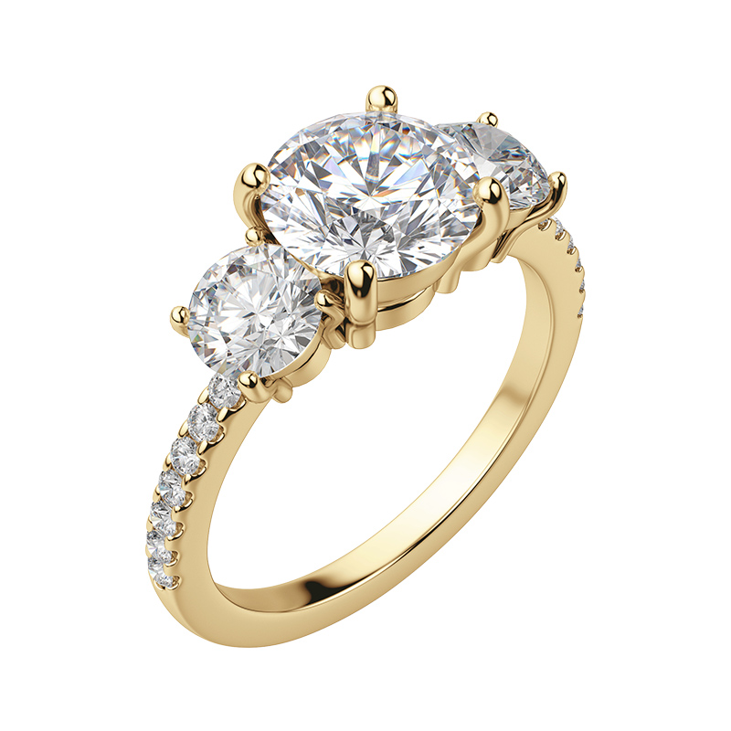 Three stone engagement ring setting with an accented band