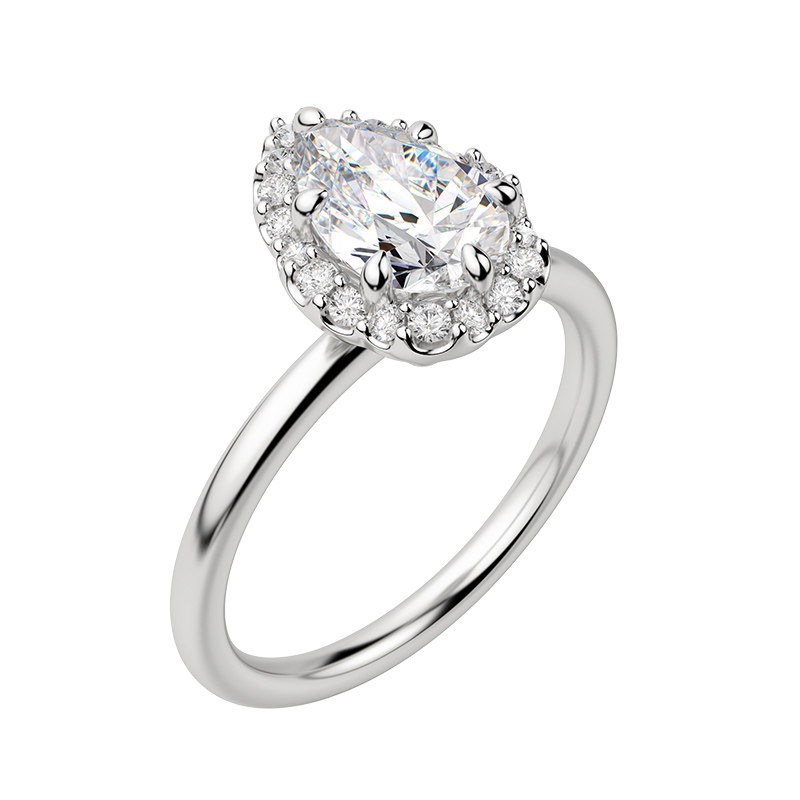 A sleek solitaire band compliments a glamorous halo setting