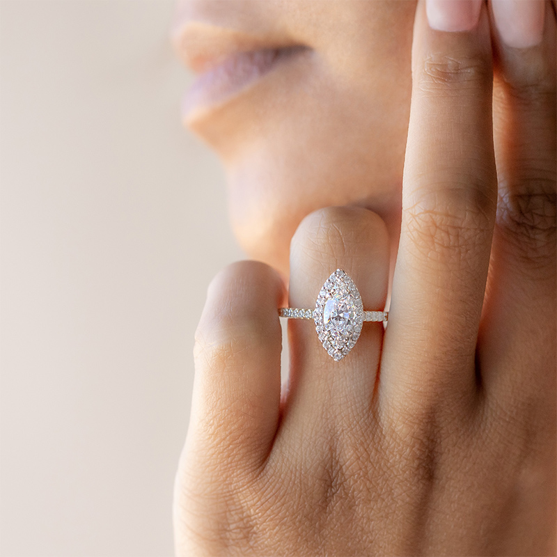 Go big or go home with a sparkling halo setting