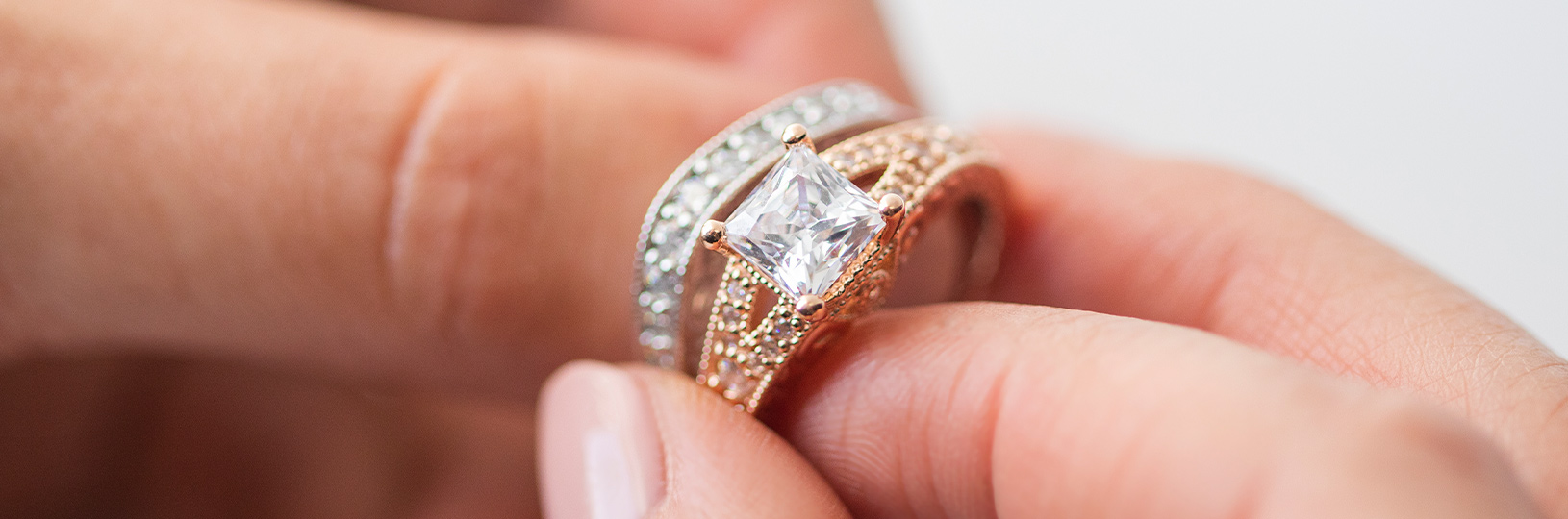 An engagement ring and wedding band