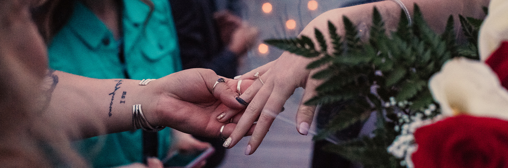Showing off a new engagement ring