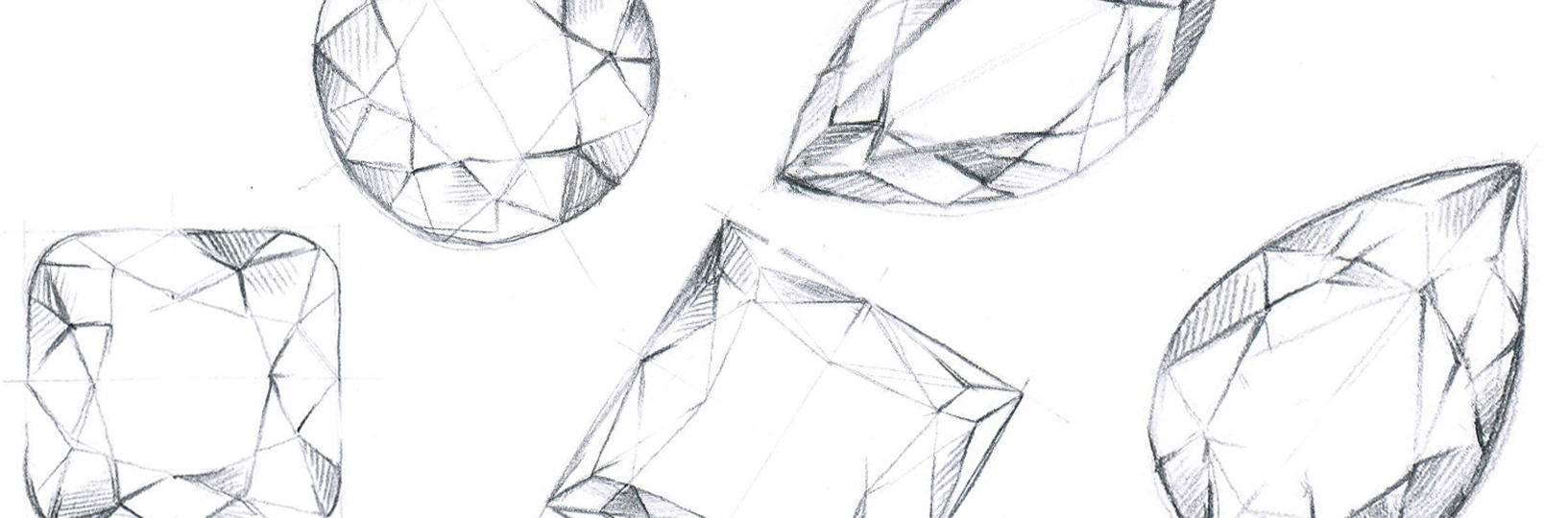 A sketch of different diamond shapes