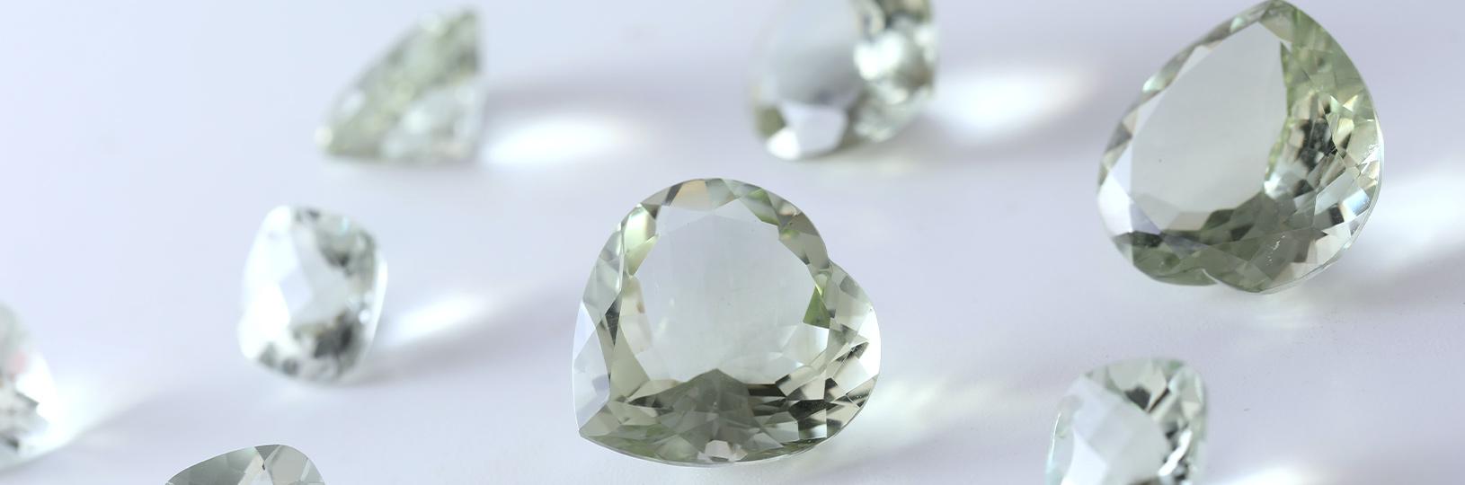 A closeup image of lab grown diamonds