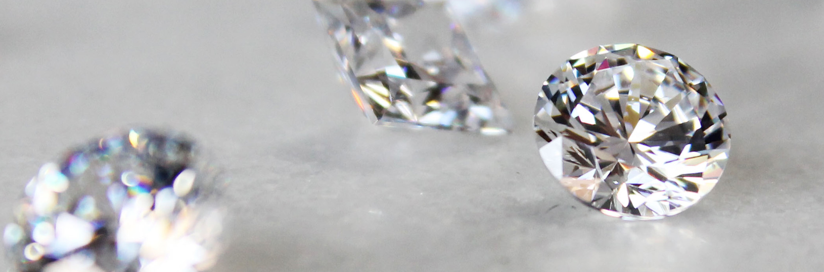 A close up image of lab grown diamonds