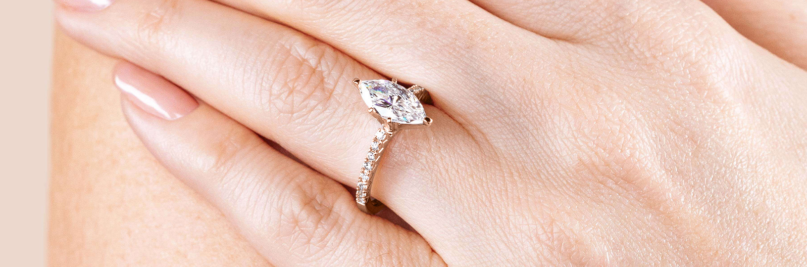 Accented Marquise cut engagement ring