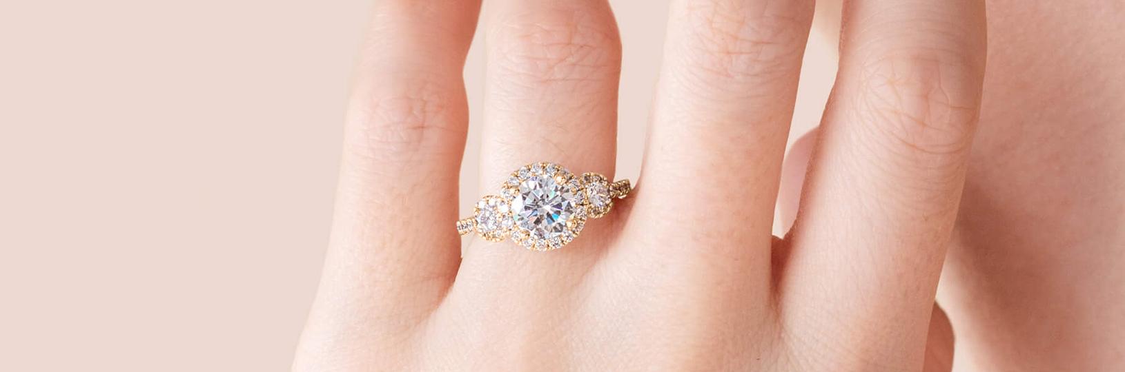 Three stone lab diamond engagement ring