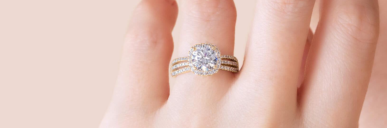 Bold lab diamond engagement ring